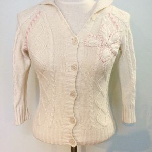 Cream pink floral appliqué cable knit hoodie top